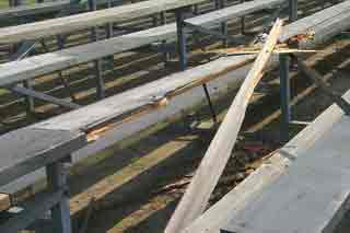 Replace damaged wooden bleachers with Aluminum Bleachers - National Recreation Systems